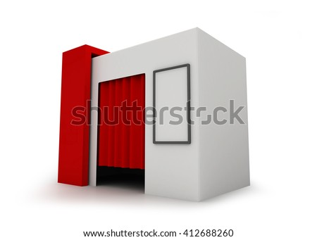 Photo Booth - 3D rendering - stock photo