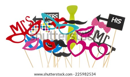 Photo Booth Props on a White Background - stock photo