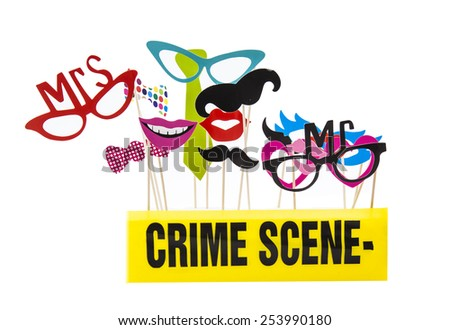 Photo Booth Props on a White Background with Crime Scene Tape - stock photo
