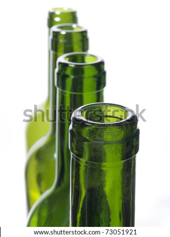 Photo bottles and glasses on a white background