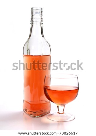 Photo bottles and glasses on a white background - stock photo