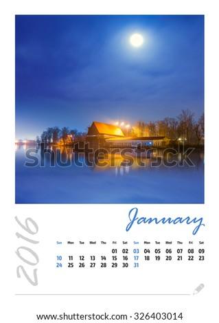 Photo calendar with beautiful minimalist cityscape 2016. January - stock photo