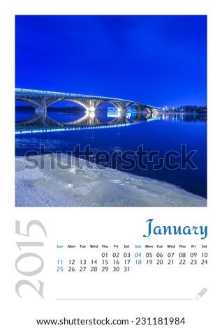 Photo calendar with minimalist cityscape and bridge 2015. January - stock photo