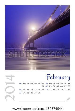 Photo calendar with minimalist landscape 2014. February - stock photo