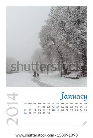 Photo calendar with minimalist landscape 2014. January. Version 2 - stock photo