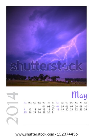Photo calendar with minimalist landscape 2014. May