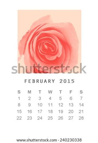 Photo calendar with retro image style 2015, February - stock photo