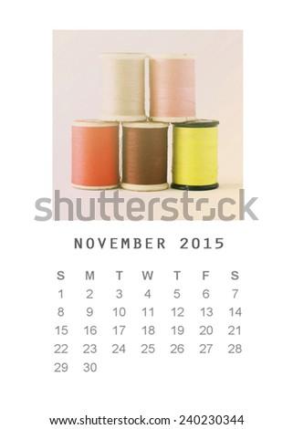 Photo calendar with retro image style 2015, November - stock photo
