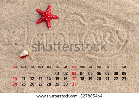 Photo calendar with starfish and seashells on sand beach. January  2016 - stock photo