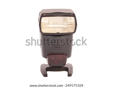 Photo camera flash isolated on white  - stock photo