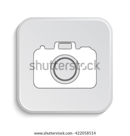 Photo camera icon. Internet button on white background. - stock photo