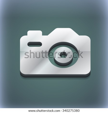 Photo Camera icon symbol. 3D style. Trendy, modern design with space for your text illustration. Raster version - stock photo
