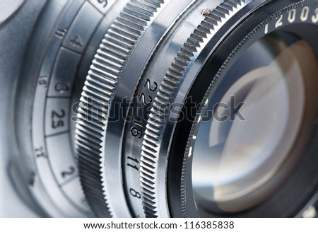 Photo camera lens close-up. - stock photo