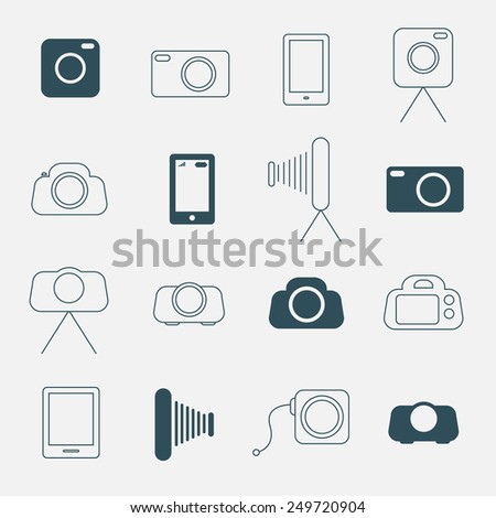 Photo Camera Simple Icons Set - stock photo