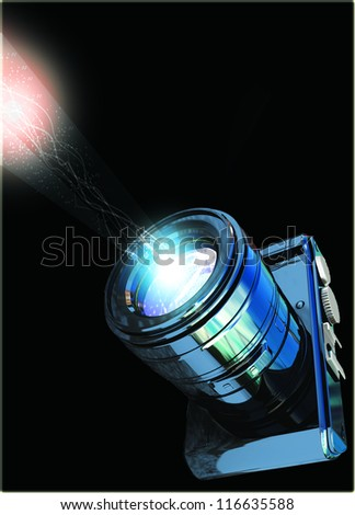 Photo camera with light flare special effect Isolated on a black background - stock photo
