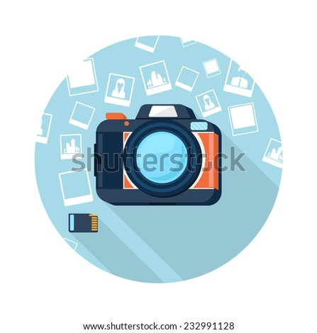 Photo camera with pictures on background and memory card cartoon flat design long shadow style. Raster version - stock photo