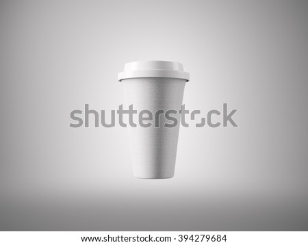 Photo close white paper take away coffee cup. Isolated on the light background. Ready for business info. Horizontal mockup. 3d rendering - stock photo