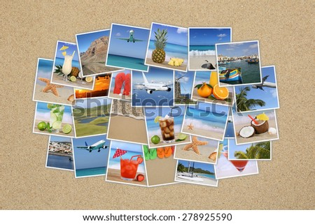 Photo cloud with summer vacation, beach, drinks, holiday, traveling on sand - stock photo