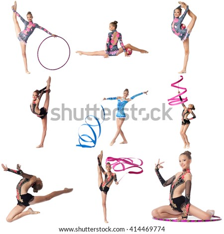 Photo collage. Artistic gymnast posing at camera
