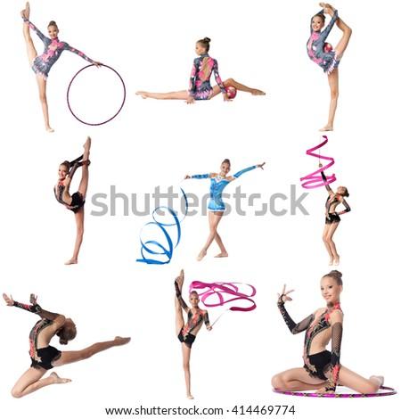 Photo collage. Artistic gymnast posing at camera - stock photo