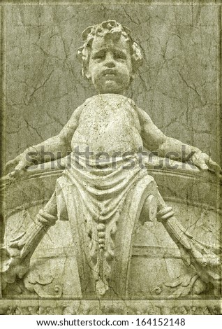 Photo collage artwork composition for ancient or religious topics made from a classic style marble statue of a boy in grunge texture background - stock photo