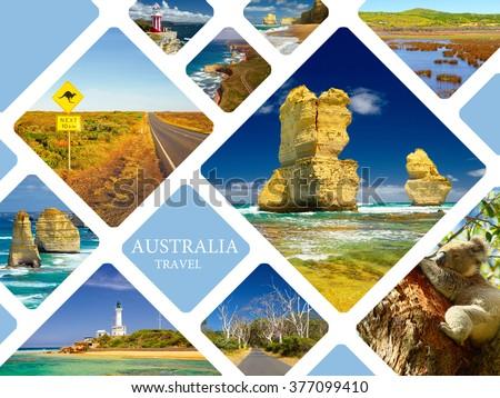 Photo collage Australia. Great Ocean Road and 12 Apostles. Travel concept - stock photo