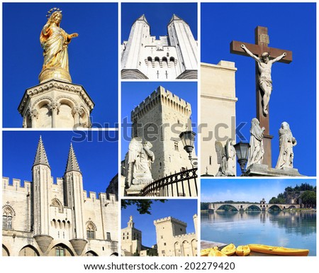 Photo collage Avignon - city of Popes, South of France - stock photo