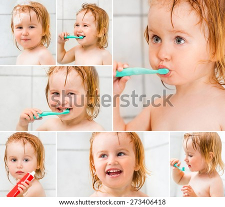 photo collage dental hygiene. Cute baby brushing teeth in bathroom - stock photo