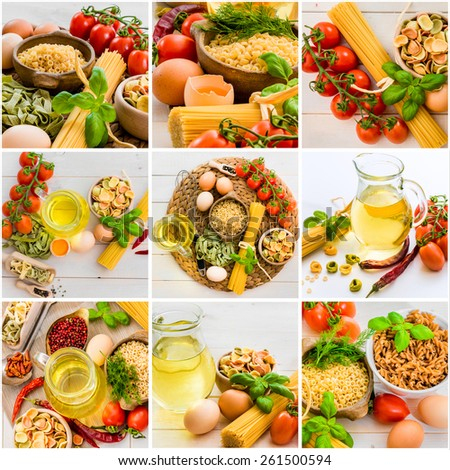 photo collage egg pasta vegetables and spices on the kitchen table - stock photo