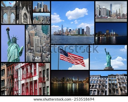 Photo collage from New York City, United States. Collage includes major landmarks like Statue of Liberty, Manhattan skyline and Brooklyn Bridge. - stock photo