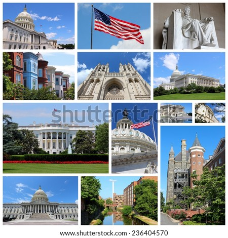 Photo collage from Washington DC, United States. Collage includes major landmarks like National Capitol, Georgetown University and Lincoln Memorial. - stock photo