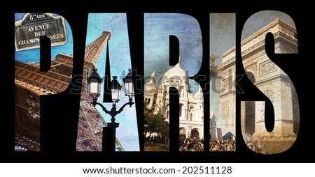 Photo collage letters PARIS, isolated on black background - stock photo