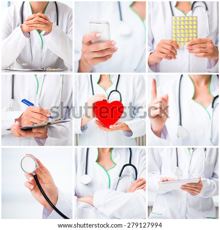 photo collage of a woman doctor in a white lab coat with medical stuff - stock photo