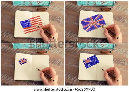 Photo collage of a woman hand drawing United States, Australia and United Kingdom flags with a fountain pen on notebook.
