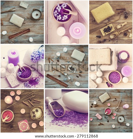 Photo collage of bath accessories on wooden background  - stock photo