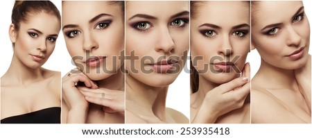 Photo collage of beauty woman face with clean perfect skin. Concept of skincare, facial moisturizer and protection therapy.   - stock photo