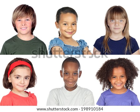 Photo collage of children isolated on a white background - stock photo