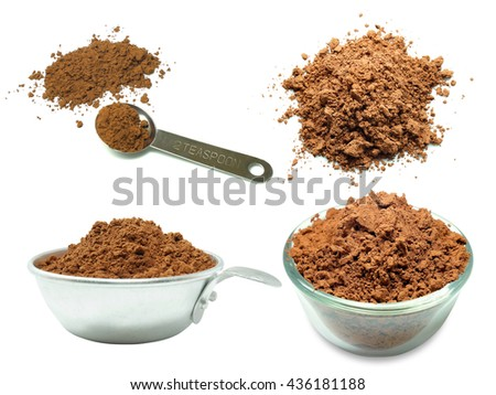 Photo collage of cocoa powder isolated on white background - stock photo