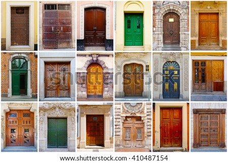 Photo collage of 18 colorful front doors to European houses and homes. Collage of the doors in Europe. Different European facade entrance doors. Europe colorful living city compilation set.