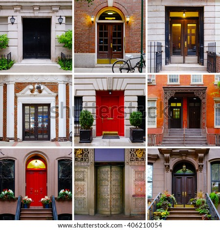 Photo collage of colorful front doors to Manhattan houses and homes. Collage of the New York city doors. Different american front entrance doors from the NYC, USA. Colorful living compilation set.
