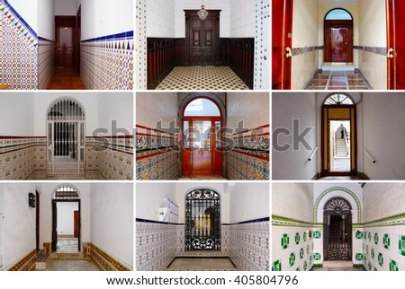 Photo Collage Colorful Front Doors Spanish Stock Photo Image
