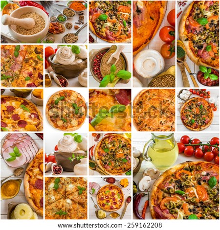 photo collage of different kinds of pizza