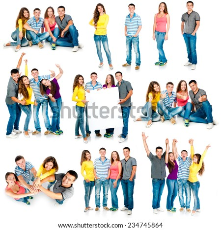 photo collage of four students are isolated on a white background - stock photo