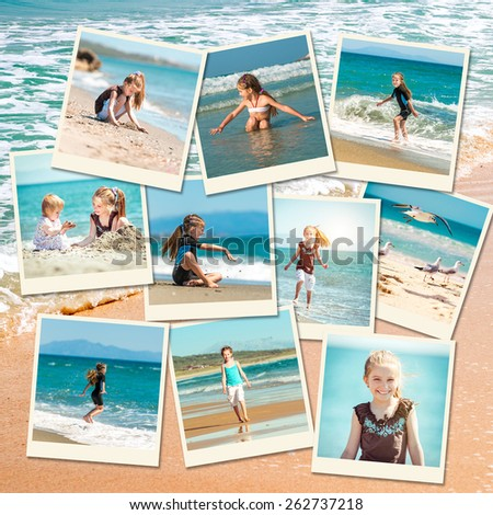 photo collage of girl playing with her sister on the beach - stock photo