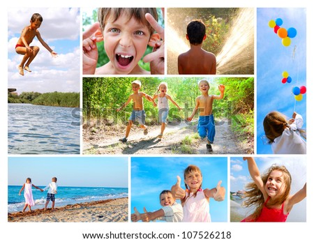 photo collage of happy smiling and laughing children playing, running in the woods, walking along the beach , making faces, swimming and relaxing outdoor in summer