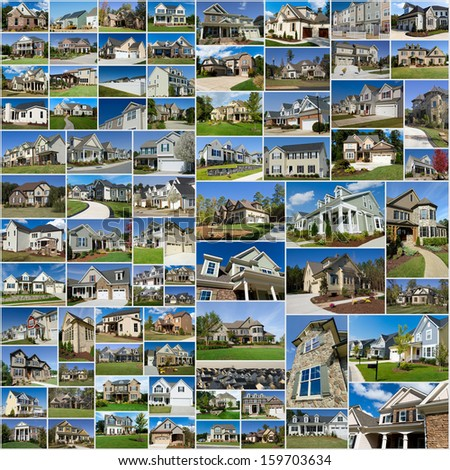 Photo collage of multiple suburban homes  - stock photo