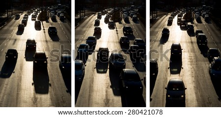 Photo collage of people traveling by cars at rush hour at one of the busiest boulevard in Sofia. Bulgaria's capital has the most polluted air in the EU. - stock photo