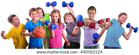 Photo collage of sport children group having training activity with dumbbells and ball. Boys and girls doing exercises.Isolated over white background.Sport healthy lifestyle concept. Sporty childhood. - stock photo