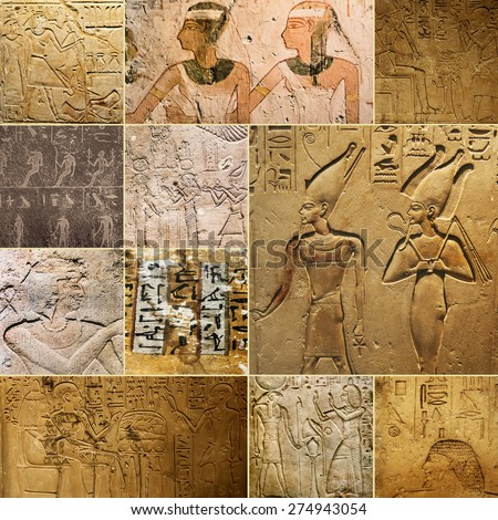 photo collage of the ancient Egyptian paintings, reliefs and inscriptions on stones - stock photo