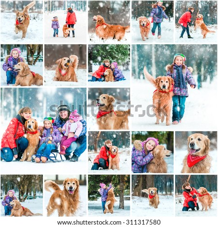 Photo collage of winter walks with children and a dog - stock photo